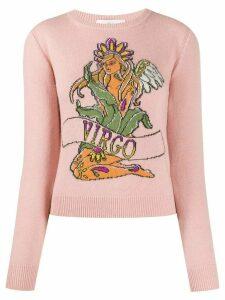 Alberta Ferretti Virgo intarsia slim-fit jumper - PINK