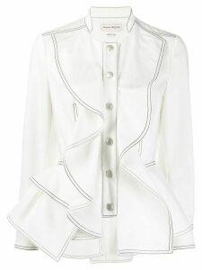 Alexander McQueen ruffled front buttoned shirt - White