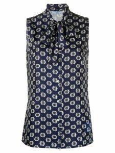 Prada geometric print silk shirt - Blue