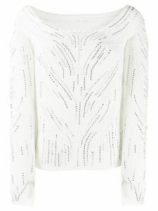 Ermanno Scervino boat neck embellished top - White