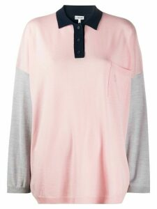 Loewe oversized colour-block knitted polo shirt - PINK