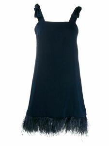 P.A.R.O.S.H. square neck feather hem dress - Blue