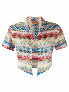 Missoni Mare cropped abstract embroidered top - PINK