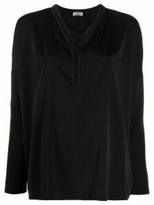 Brunello Cucinelli V-neck long sleeve blouse - Black