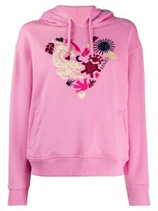 Kenzo heart crest-embroidered hooded sweatshirt - PINK