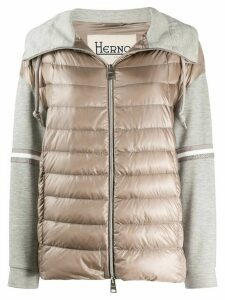Herno jersey-panel quilted jacket - NEUTRALS
