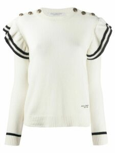 Philosophy Di Lorenzo Serafini striped ruffle sleeve cashmere jumper -