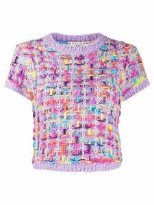 Alice+Olivia Ciara short-sleeved tweed top - PURPLE