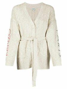 Kenzo Paris intarsia belted cardigan - NEUTRALS