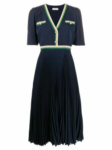 Sandro Paris buttoned V-neck pleated dress - Blue