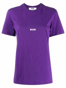MSGM logo print T-shirt - PURPLE