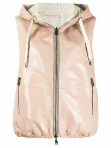 Brunello Cucinelli leather hooded gilet - PINK