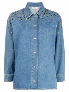 Sandro Paris long sleeve stud-embellished denim shirt - Blue