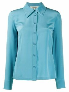 DVF Diane von Furstenberg long sleeve button down silk shirt - Blue