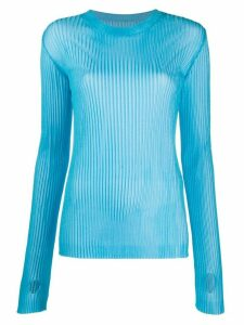 Maison Margiela thumb hole ribbed jumper - Blue