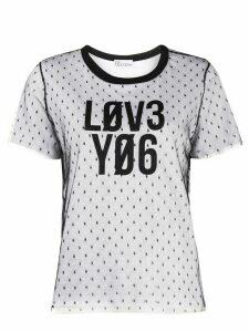 RedValentino logo detail mesh T-shirt - White