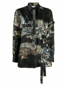 Chloé Toile de Jouy print wrap shirt - Black