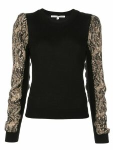 Veronica Beard knitted snakeskin print top - Black