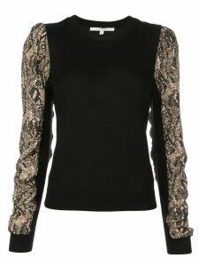 Veronica Beard knitted snakeskin print top - Black