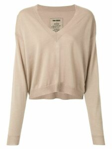 Uma Wang v-neck loose-fit jumper - Brown