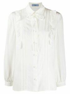 Prada bow embellished buttoned blouse - White