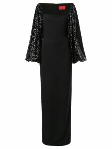 Solace London Greta sequin sleeve gown - Black