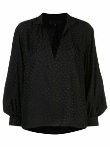 Nili Lotan V-neck stand up collar blouse - Black
