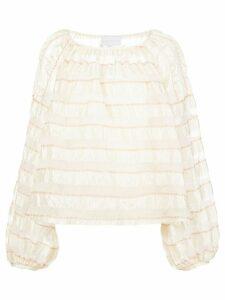 Noon By Noor sheer stripe tunic top - White