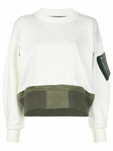 Sacai sleeve-pocket knit jumper - White