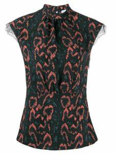 Calvin Klein python print lace trim blouse - Black