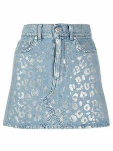 Chiara Ferragni metallic leopard print skirt - Blue