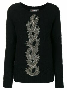 Jo No Fui embroidery knit sweater - Blue
