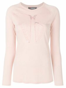 Jo No Fui butterfly embroidered longsleeved T-shirt - PINK