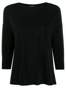 Luisa Cerano cropped sleeves plain T-shirt - Black