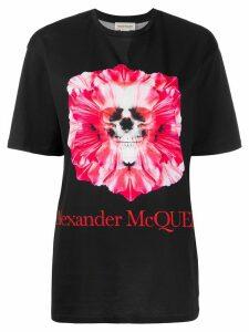 Alexander McQueen floral skull-print T-shirt - Black