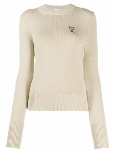 Ami Paris Ami de Coeur embroidered jumper - NEUTRALS