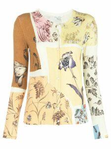 Oscar de la Renta patchwork floral cardigan - Yellow