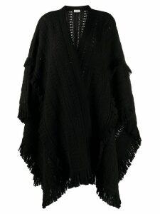 Saint Laurent fringed chunky-knit poncho - Black