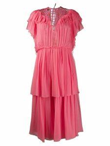 Alberta Ferretti tiered ruffle dress - PINK