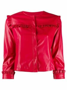 LIU JO frill trim collarless jacket - Red