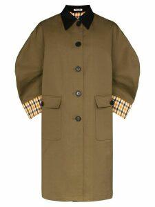 Miu Miu contrast check trench coat - Green