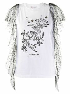 RedValentino point d'Esprit tulle detailed T-shirt - White
