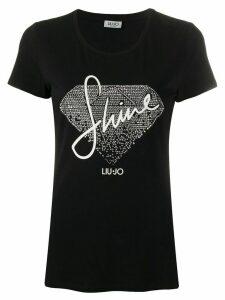 LIU JO short sleeve rhinestone-embellished T-shirt - Black