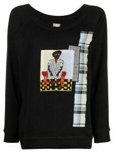 Antonio Marras embroidered patchwork jumper - Black