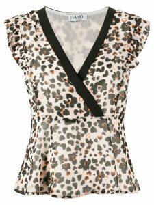 LIU JO wrap front leopard print blouse - NEUTRALS