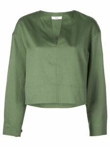 Tibi split neck cropped blouse - Green