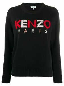 Kenzo textured-logo crew neck sweater - Black