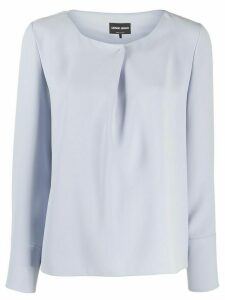 Giorgio Armani pleated detail long-sleeved blouse - Blue