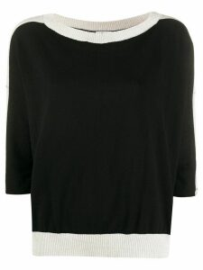LIU JO contrast ribbed knit jumper - Black