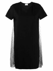 Red Valentino point d'esprit pleated T-shirt dress - Black